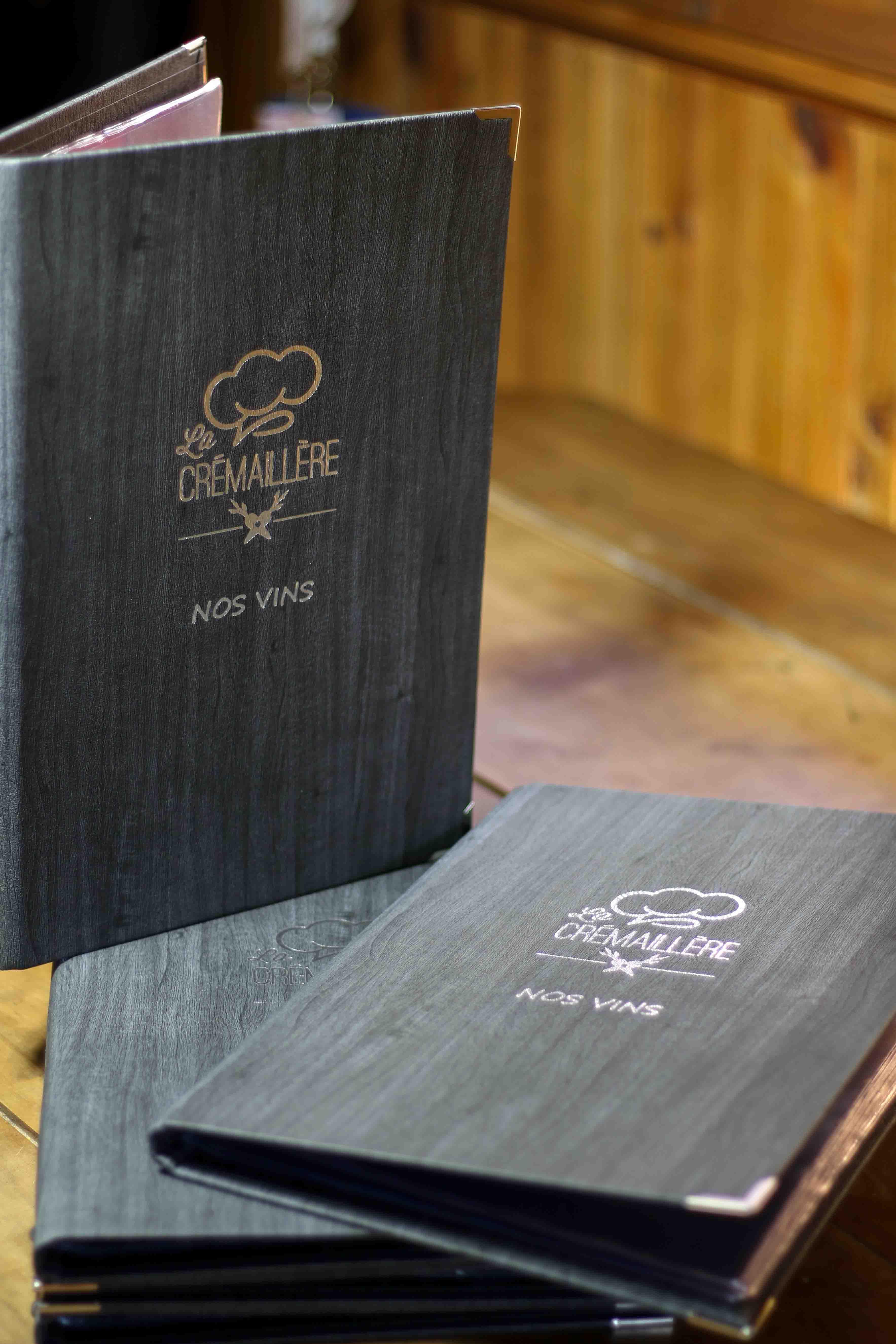 Image protège-menu carte des vins restaurant la Crémaillère