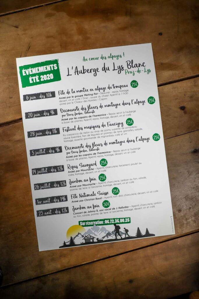 Programme événements Le Lys Blanc, Praz de Lys